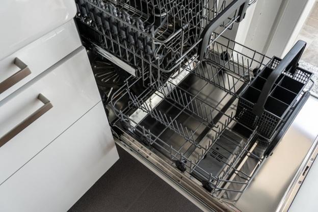A black and grey dishwasher